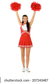Cheerleader: Woman Cheering With Poms In The Air