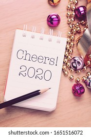 Cheers 2020 with decoration. New year is the first day of the year in the Gregorian calendar.