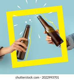 Cheers. Contemporary art composition with two male hands holding beer bottles with lager, cold beer. Concept of festival, national traditions, taste, drinks. Mix photo and illustraion