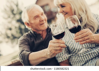 Cheers. Focus on mature couple at blurred background holding glasses with scarlet wine. They smiling to each other
