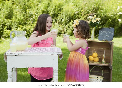 Cheers!  Two adorable sisters running a lemonade stand.