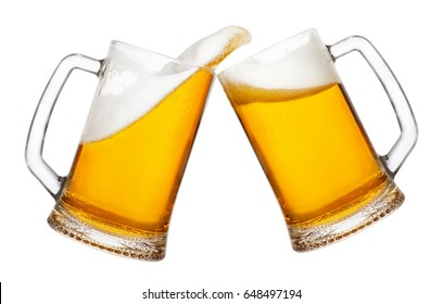 cheers, two mugs of beer toasting creating splash isolated on white background