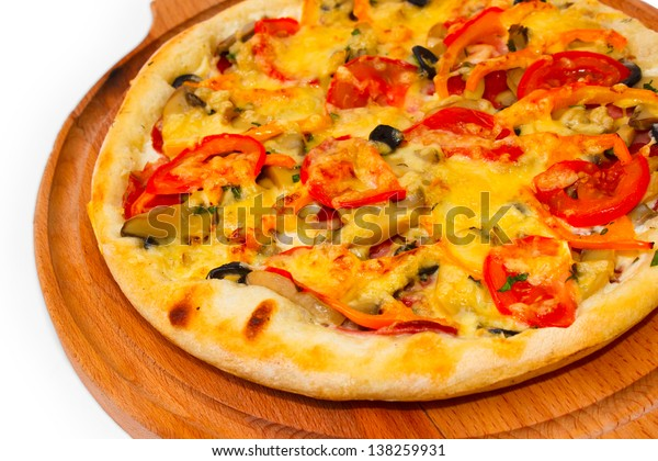 cheese appetizing pizza with wooden tray close up white background