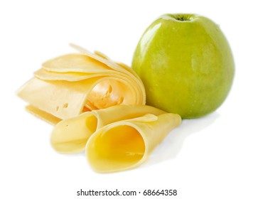 Cheese and apple isolated on white