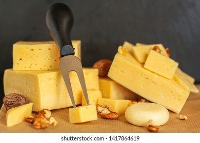 cheese, Assorted cheeses on one slate plate - tasting snacks. healthy food. copy space for text and lettering