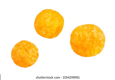cheese balls, isolated white background, include clipping path
