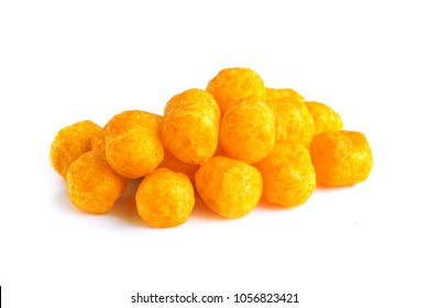 Cheese balls snack isolated over white background, include clipping path