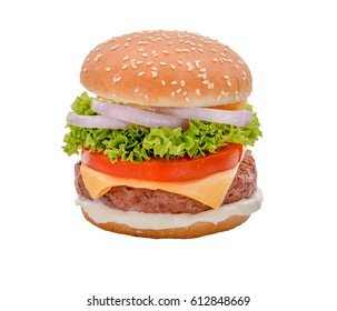 cheese beef burger with salads tomatoes and onions