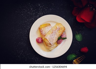 Cheese Blintz - Valentines day breakfast concept overhead view