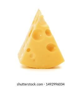 Bloc de fromage isolé sur fond blanc, découpe