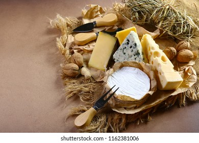 cheese board, cheese with blue mildew, Camembert or brie cheese circle, Cheese Serving Knife. top view image with copy space, set.