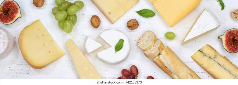 Cheese board platter plate Swiss bread Camembert banner top view above