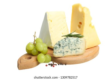 Cheese board: yellow Maasdam cheese, white Camembert cheese and blue cheese Dor Blue with spices and grapes on wooden cutting board. isolated on white.