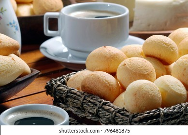 Cheese bread with coffee