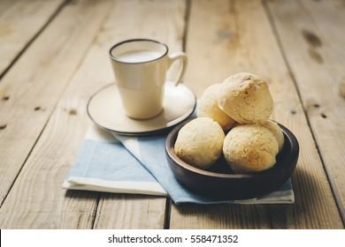 Cheese Bread, Pão de Queijo, coffee