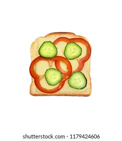 Cheese bread with cheese, red bell pepper and cucumber slices isolated on white background.