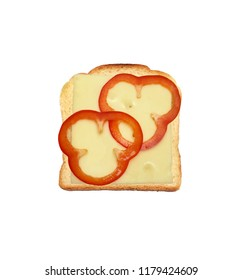 Cheese bread with cheese and red bell pepper slices isolated on white background.