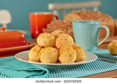 Cheese breads balls on breakfast table