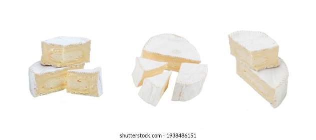 Cheese brie set on the white background