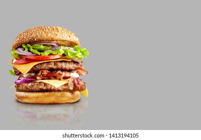 Cheese burger chicken/beef steak burger food on grey background