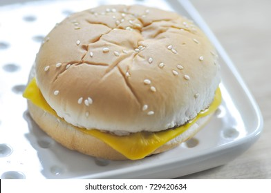 cheese burger dish on the table