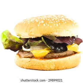 cheese burger on white background