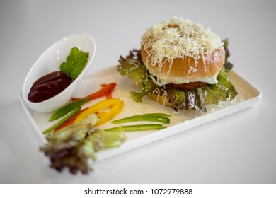 cheese burger in plate