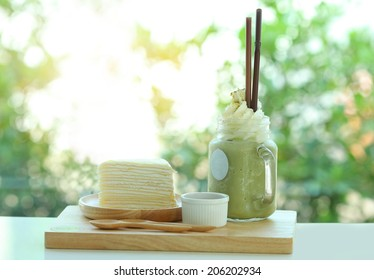 cheese cake and Green tea Smoothie