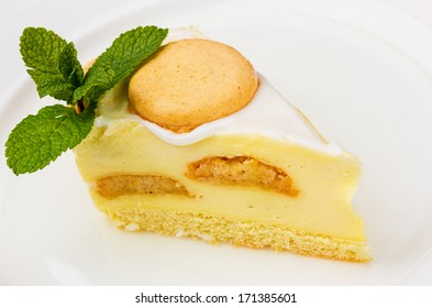 cheese cake on the white ceramic plate
