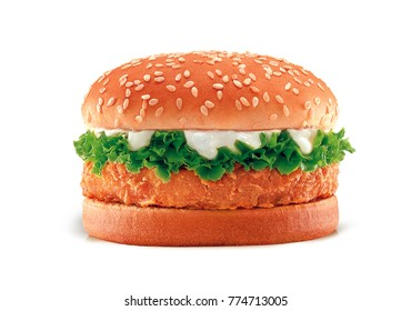 cheese chicken burger with vegetable kale on white background