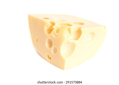 cheese chunk isolated on white