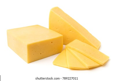 Cheese chunks on a white background, close-up.