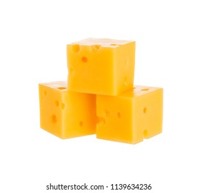 Cheese cubes isolated on white background. With clipping path.