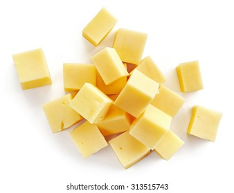 cheese cubes isolated on white background, top view