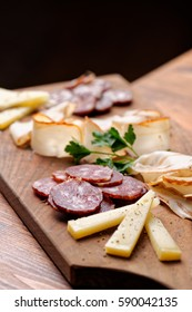 Cheese and cured meat charcuterie selection salami