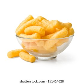Cheese curls in bowl isolated on a white background. With clipping path
