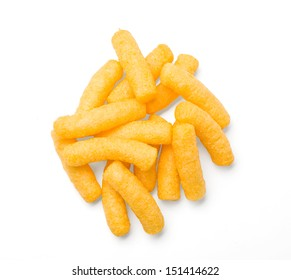 Cheese curls isolated on a white background. With clipping path