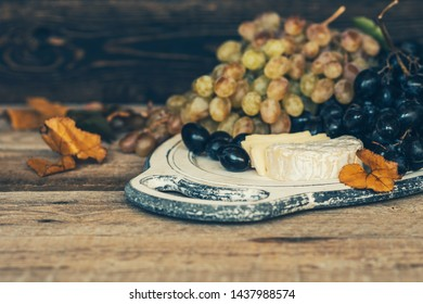 Cheese, dark blue and white grape with fall leaves on old wooden background. Healthy fruits. Wine grapes background. Bunch of grapes ready to eat. Toned image. Selective focus.