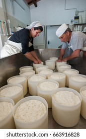 In the cheese factory, during the preparation of the ricotta cheese with fresh sheep milk