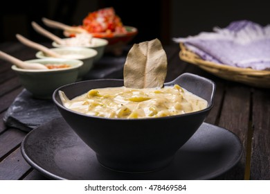 Cheese fondue set with tortilla bread Mexican style