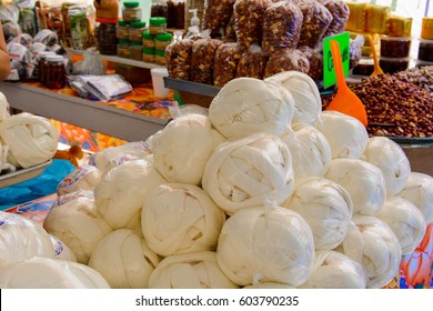 Cheese at food market in Oaxaca, Mexico