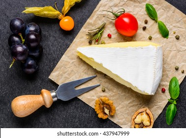 Cheese Fork with Brie Cheese and Grapes, poha fruits and nuts
