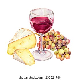 Cheese, grape and red wine glass. Watercolor drawing