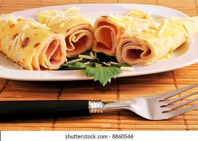 cheese and ham pancakes