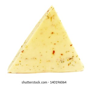 Cheese with herbs isolated on a white background
