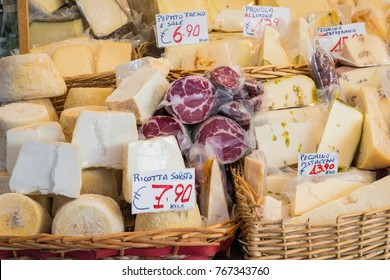 Cheese market. Large selection of cheeses. Catania, Sicily, Italy.