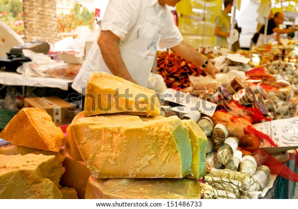Cheese market. Large selection of cheeses.