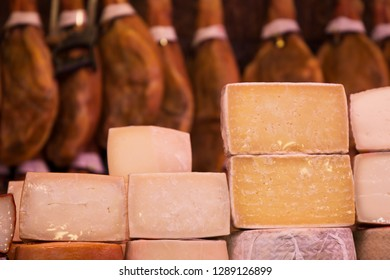 Cheese market in public exposition