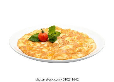 Cheese omelette on a plate isolated on white / Cheese omelette isolated / Cheese omelette with tomatoes