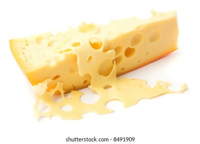 Cheese on white background ready to be eaten